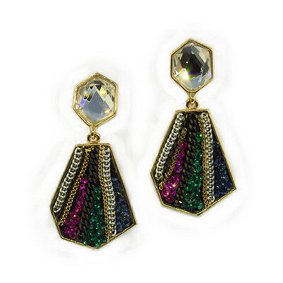 Diamond Shaped Luxury Fashion Drop Dangle Earring Jewelr Multicolor Crystal Gold