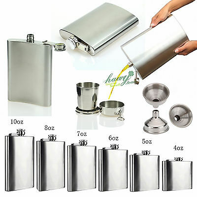 2 6 8 10 18oz Stainless Steel Hip Flask Liquor Vodka Alcohol Bottle Funnel Cups