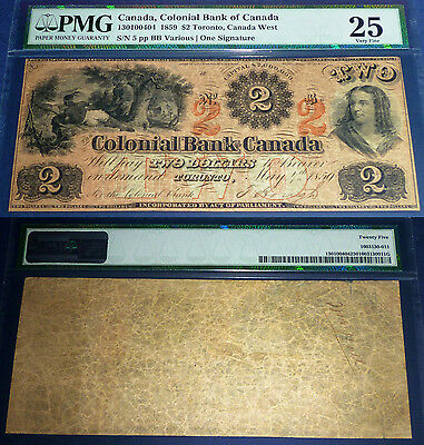 VERY SCARCE ,Colonial Bank of Canada 1859 $2 ,Highest PMG  Grade,PMG 25