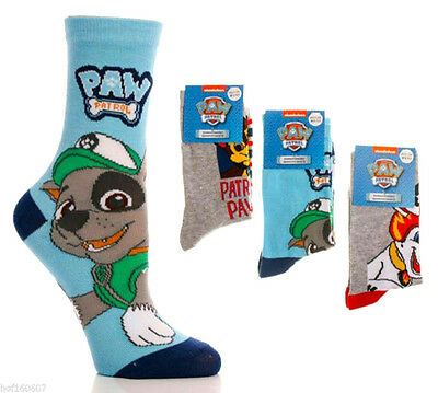 Official Licensed Paw Patrol  Socks, 3 pairs per pack, Chase, Rocky & Marshall