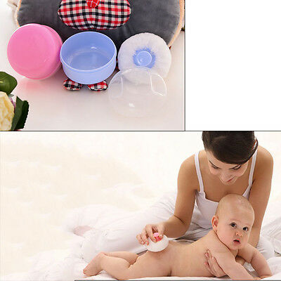Soft Baby Talcum Powder Puff Container Sponge Case Box Make Up Cosmetic Tools