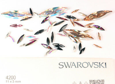 Genuine SWAROVSKI 4200 Navette Fancy Crystals Rhinestones * Many Colors & Sizes