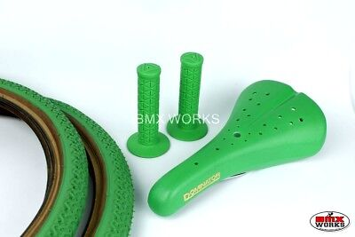 Freestyle BMX Package Tyres, Seat & Grips in Green - Suit Haro Mongoose Hutch GT