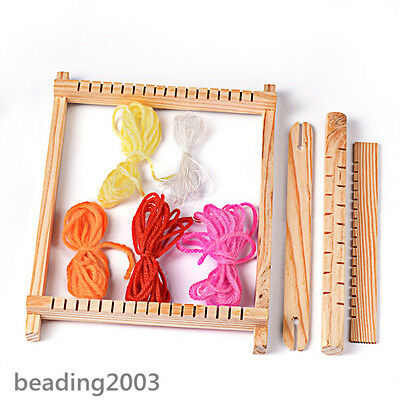 1Set Adjusting Rods Combs and Shuttles Wood Knitting Looms with Yarns Warp Weft