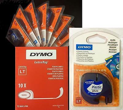 Dymo Letratag Tape 12mm Plastic Black on White BOX of 10 91201 / S0721610