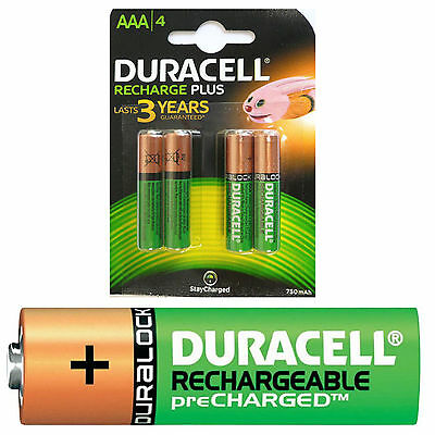 4 x Duracell AAA 750mAh PRE/STAY CHARGED Rechargeable Batteries HR03 DC2400 750