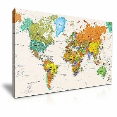 MAP OF THE WORLD Canvas Framed Print Wall Art Room Deco ~ More Size