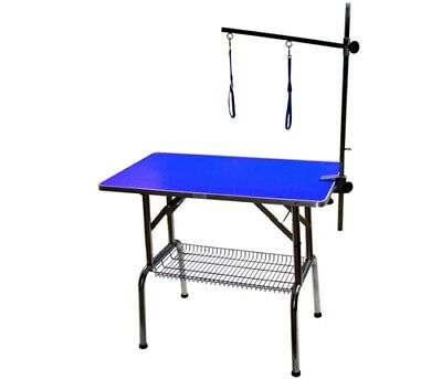 """BLUE 38"""" Emperor Fold Flat Dog Grooming Table + Grooming Arm & Noose Restraint"""