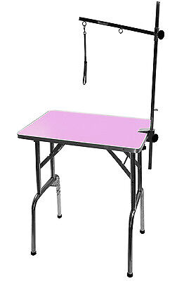 "PINK 28"" Small Emperor Pet Dog Grooming Table + Grooming Arm & Noose !"