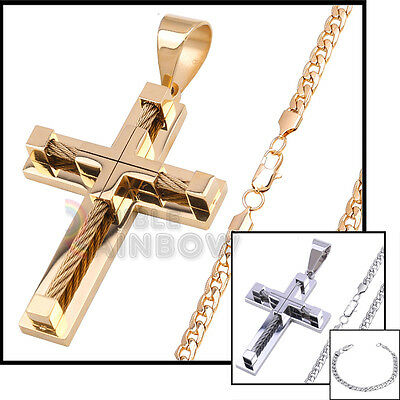 10P1 Mens Heavy Cross Pendant 8mm Diamond Cut Cuban Chain Necklace Bracelet Set