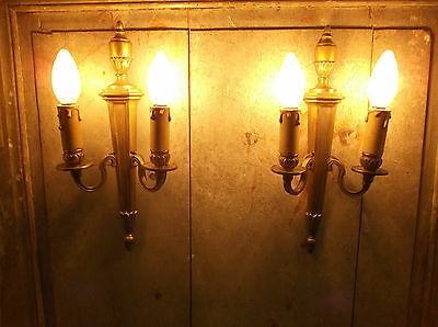 French a pair of  gold bronze wall light sconces gorgeous antique patina