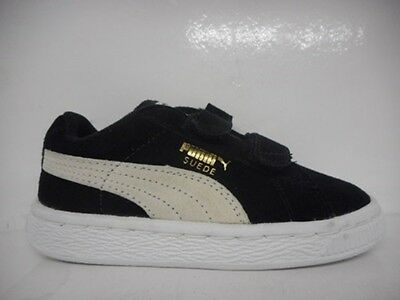 Puma Suede 2 Strap Kids Toddlers Running Shoe Black 356274-01 Select Size