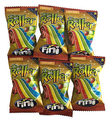 Fini Roller x 40 Extra Sour The Longest Candy Belt Rainbow Party Favor