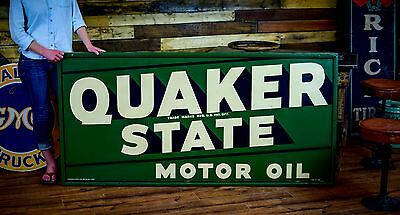 Clean 1949 QUAKER STATE Motor Oil Service METAL SIGN Gas Station Advertising