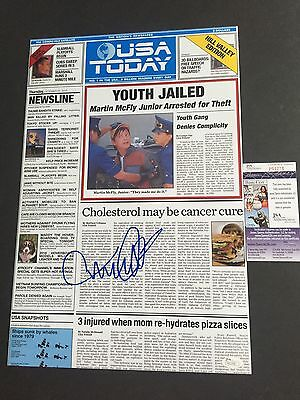MICHAEL J FOX signed 12x18 Poster USA TODAY Newspaper Back to the Future JSA