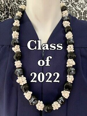 Hawaiian Kukui Nut Lei with Mongo Shells Class of 2019 Graduation Lei Necklace