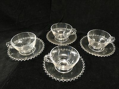 (4) Candlewick Clear Glass Coffee Cups With Saucers