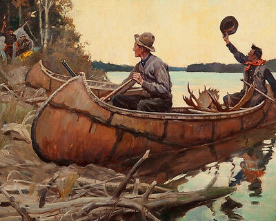 Hunting In Forest Near River Canoe Kayak Camping Painting Real Canvas Art Print
