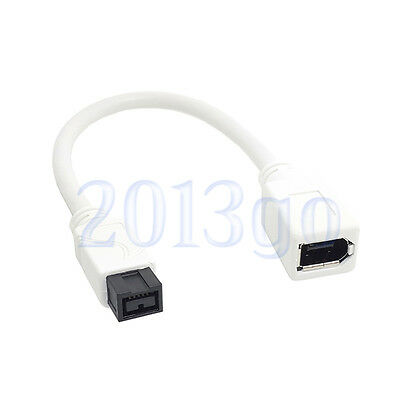 White IEEE 1394 6PIN Female to 1394b 9PIN Male Firewire 400 to 800 Cable 15cm HW