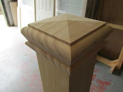 Solid Pine Pyramid Style Stair Newel Post Cap Rebate to fit 70mm Posts