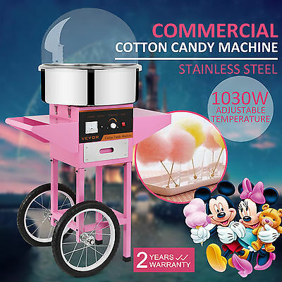 New Electric Cotton Candy Maker Floss Machine Fairy Kid Party  w/ Cart and Cover