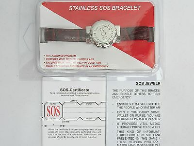 Ladies Sos Bracelet Genuine Leather Strap Medical Alert/information/ice Talisman
