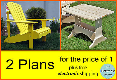 Outdoor Adirondack Chair  & Side Table  Plans Patterns & Instructions