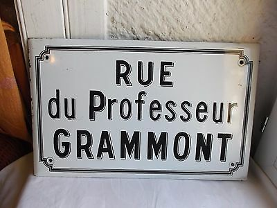 French authentic street sign black & white rare solid porcelain enamel vintage
