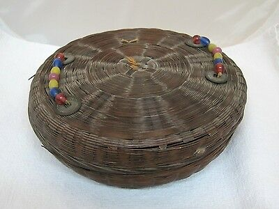Vintage Sewing Basket w Peking Glass Beads on Lid 2 Ropes of Beads 4 Coins