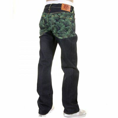 82dac9e2a24 RMC JEANS Vintage Cut with Full Back Green Tsunami Wave Embroidery REDM1881