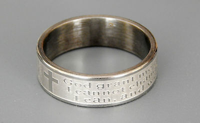 ONE  SERENITY PRAYER & CROSS STAINLESS STEEL RING BAND SIZES 17mm -  22mm