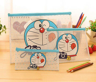 3pcs Doraemon A5+A4+Pencil Bag Office Notes Check Files Bag Organizer Folder