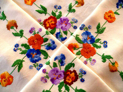 "Stunning Vintage Raisied Hand Embroidered Pansies & Vines~Tablecloth 46+"" x 47"""