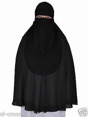 Saudi Three Layer Niqab Hijab Burqa Islamic Face Cover Veil Abaya Burka Muslim