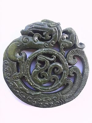 Chinese Carved Green Jade Dragon Pendant