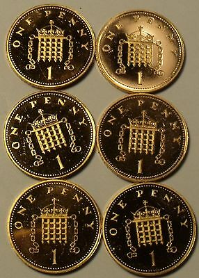 Lot Of 6 Impaired Proof Great Britain Penny's~1982 To 1992~Free Shipping