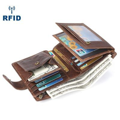 Men Crazy Horse Leather RFID Trifold Coin ID Wallet Credit Card Clucth Checkbook
