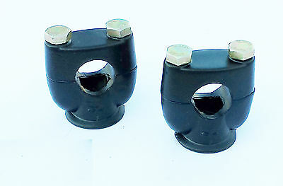 "Pair of Handle Bar Risers Mounting Clamps Motorcycle MotorBike 7/8"" 22mm Black"