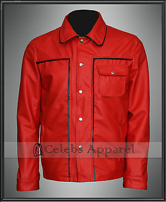 c9960a948 Mens Fashion Elvis Presley New Red SlimFit Synthetic Leather Jacket ...