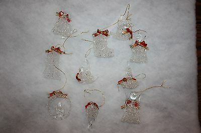Set of 10 Spun Crystal Ornaments Bird Angel bell Stocking Candle Tree Lot Glass