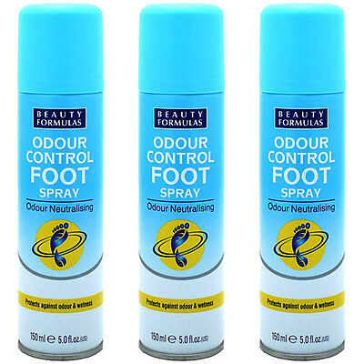 3 X Beauty Formulas Shoe Foot Odour Wetness Control Spray Antibacterial Bl 150Ml