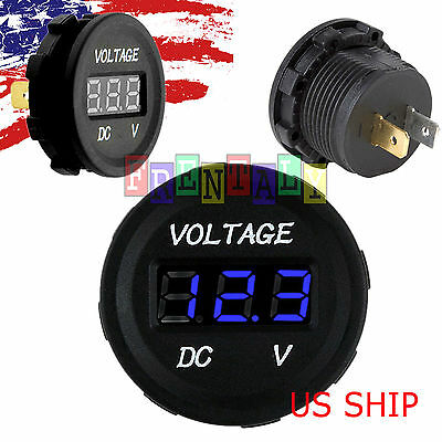 Blue LED Digital Waterproof Voltmeter Gauge Meter 12V-24V Car Auto Motorcycle