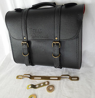 Pair Of Royal Enfield Black Colour Saddle Carrier Bag Set With Fitting Strips