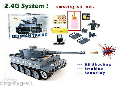 Heng Long German Tiger 2.4G radio remote control rc 1/16 BB shooting Smoking