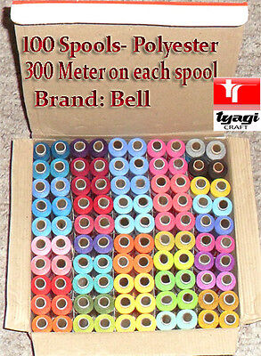 100 Reels Of Sewing Thread In Box Polyester Machine Hand Stitching Color X300Mtr