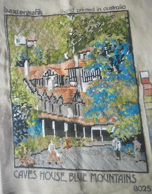 Vintage Completed Tapestry Caves House Blue Mountains Suit Craft Frame Upcycle
