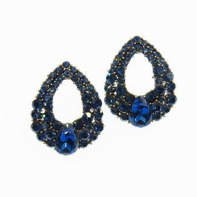 Drop Shaped Open VTG Design Stud Earrings Repro Jewelry Blue Crystal Gold Tone