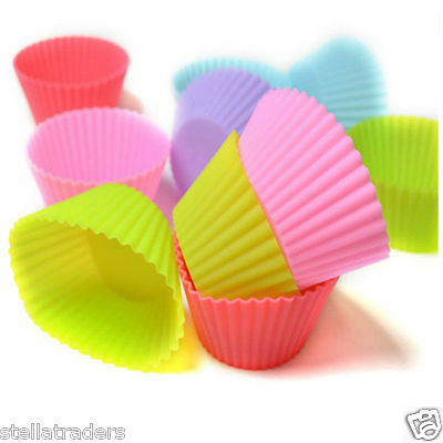 12 Pcs 7CM Multi Colour Silicone Muffin Cupcake Mold Round Shape Baking Mould