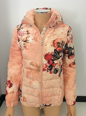 Miss Grant Coat Jacket Vgc Age 11/12 Years Real Down146/152 Flowers Pink