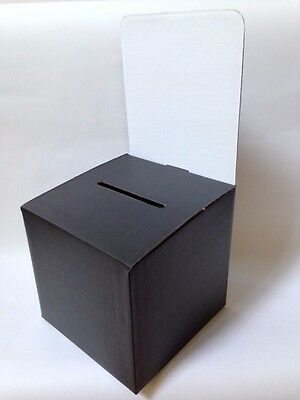 """10 Corrugated Ballot Boxes - Black with White Header Card 10"""" x 10"""" x 9-10"""""""